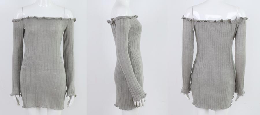 HTB1.q78agoQMeJjy0Fnq6z8gFXaB - FREE SHIPPING Women Sexy Off Shoulder  Bodycon Dress Knitted Elastic Sweater JKP304