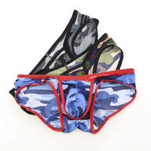 Wholesale Mens Underwear Sexy Mini Bikini Briefs 3pcs/pack Camouflage Males Lingerie Panties Summer Homme Cueca Printing Bottoms