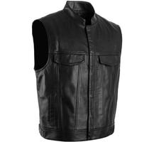 High quality 2018 Hot Cool Motorcyclist Style Fashion Motocross Racing Men's Leather Vest Black Vest Jacket S XXXL Optional