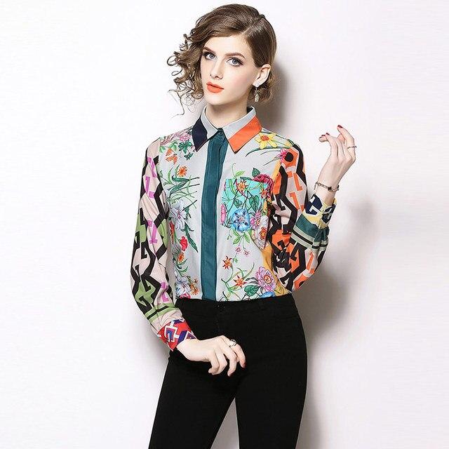 Camisa estampado multicolor floral geométricos elegante