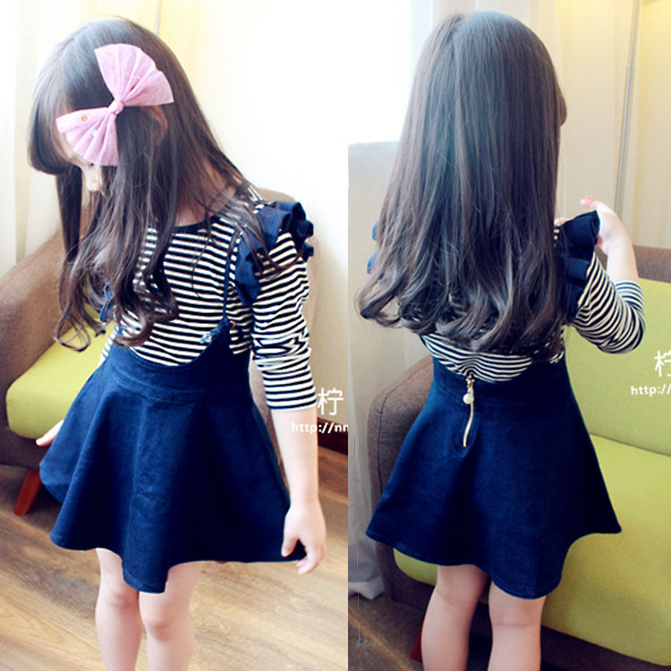 Kids Clothes 2018 new Spring Autumn Cotton Long Sleeve Ear Stripe T-Shirt + Denim Jumper Skirt Set Baby Girl Clothes