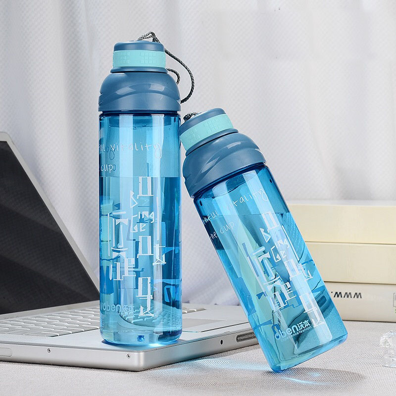 Water Bottle Outdoor Sports My Bottles With Lid Direct Drinking Plastic Drinkware Leak-proof Portable Camping 600ml H1078