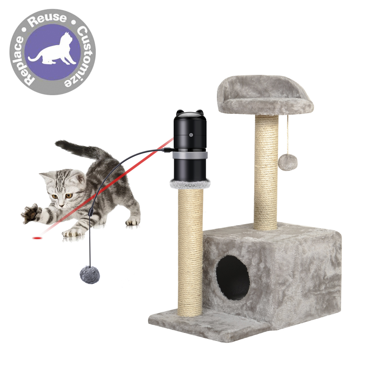 Cat Toys Laser Topper Toys Add to Any Scratching Post 360 degree Automatic Rotating Laser Electronic Motion Laser Cat Toy Бутылка