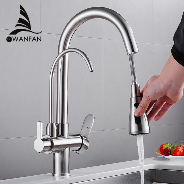 Kitchen Faucets torneira para cozinha de parede Crane For Kitchen Water Filter Tap Three Ways Sink Mixer Kitchen Faucet WF-0195