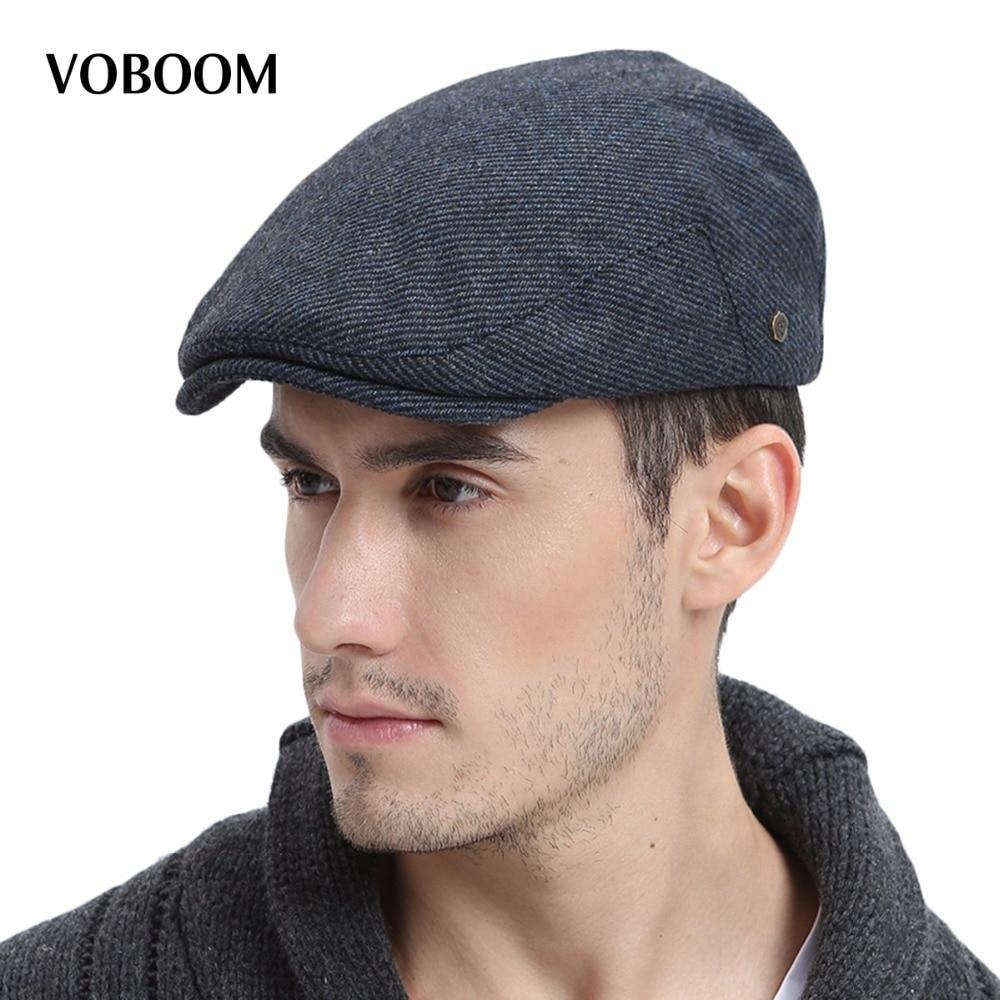 Voboom Winter Warm Wool Blend Tweed Newsboy Cap Men Solid