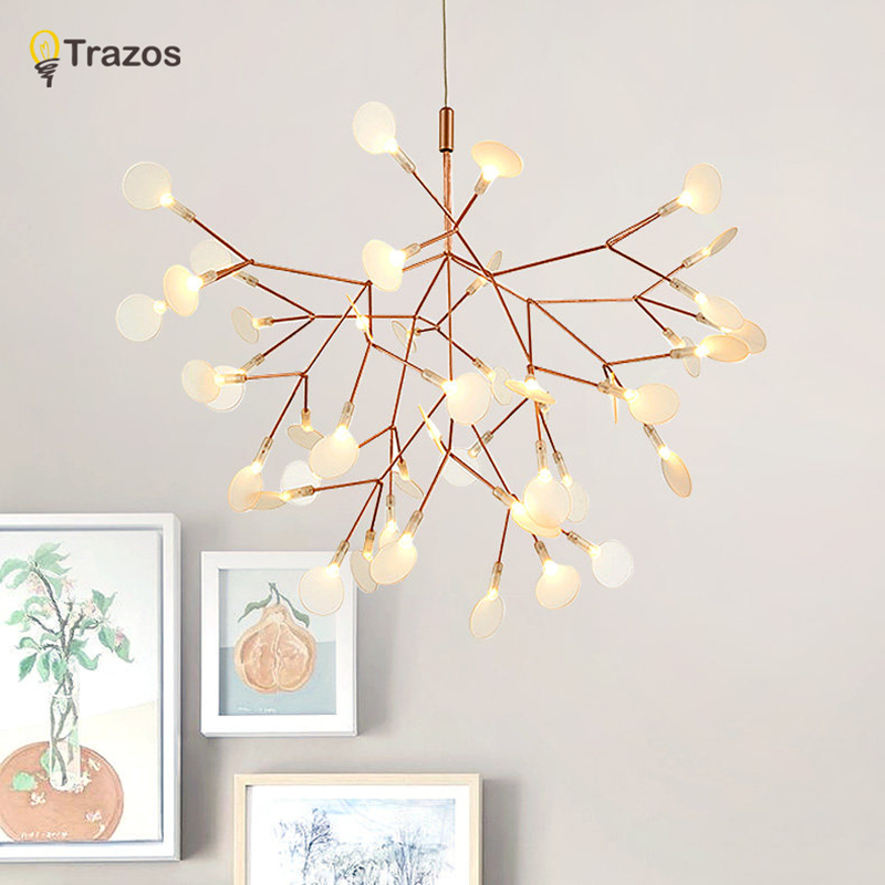 2017 New Hot lustre Rose Gold Iron vintage Fireflies bedroom lamp LED pendant lights Top novelty Indoor Lights fireflies light a season for fireflies