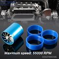 Universal Turbo Double Fan Air Intake Fuel Saver Fan Turbo Supercharger Blue