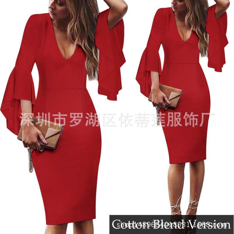 Короткие вечерние платья, сексуальные коктейльные платья с v-образным вырезом и длинными рукавами,, платье длиной до колена, коктейльное платье с оборками, повседневное облегающее платье - Цвет: Red