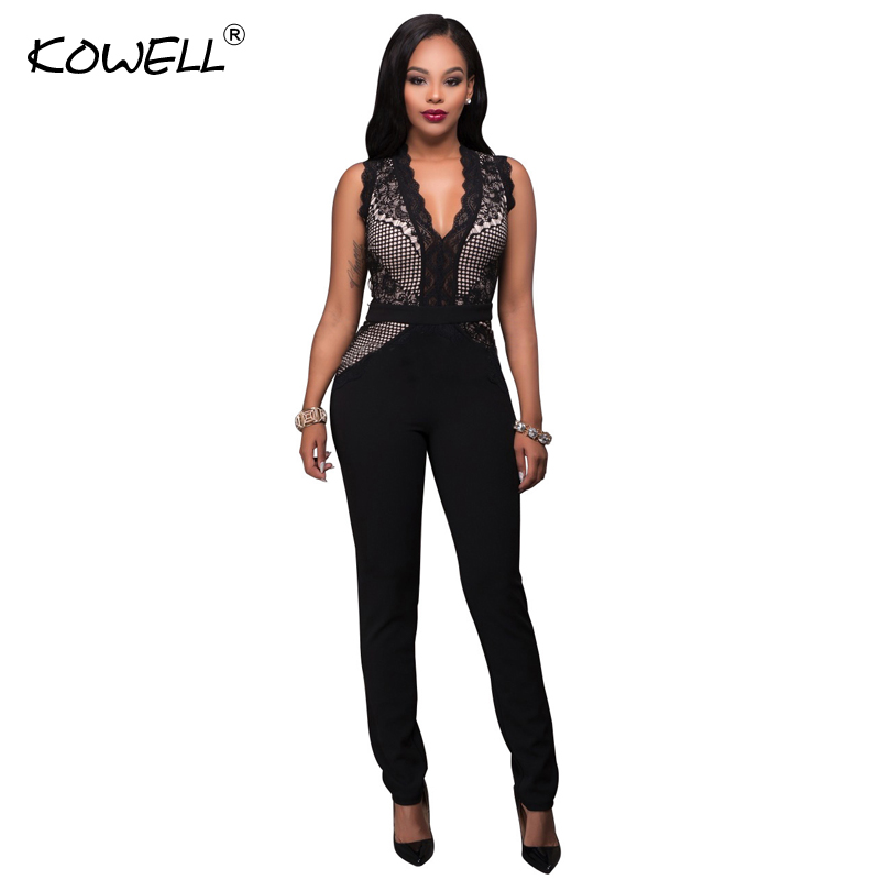 <font><b>2018</b></font> New Fashion <font><b>Sexy</b></font> Women <font><b>Jumpsuit</b></font> V-Neck Lace Bodycon Full Length <font><b>Jumpsuits</b></font> <font><b>Sexy</b></font> Night Club <font><b>Jumpsuits</b></font> Rompers Overalls image