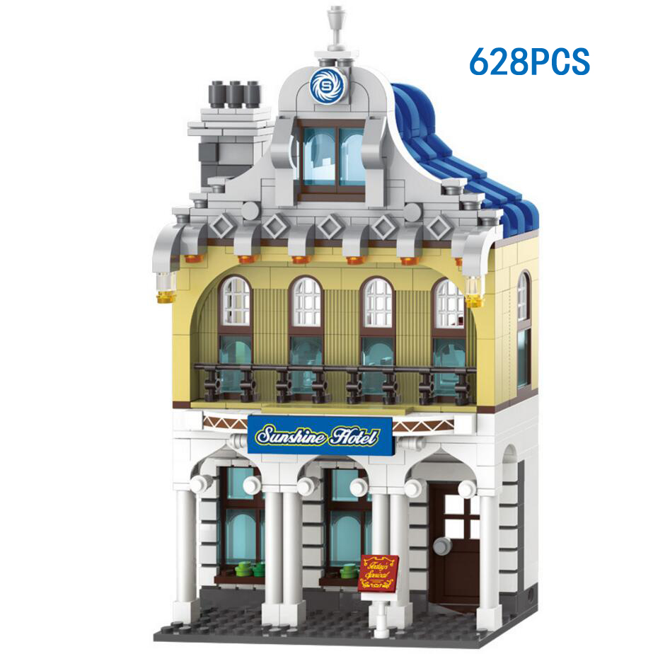 Hot City Street View Sunshine Hotel Building Block Gentleman Waiter Figures Vintage Car Bricks LEPINS Toys for Children Gifts hot city series aviation private aircraft lepins building block crew passenger figures airplane cars bricks toys for kids gifts