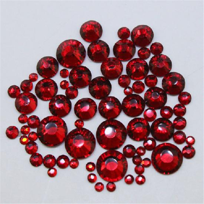 1000pcs Mix Sizes Dark Siam Red Crystal Glass Non Hotfix Rhinestones For Nails Accessoires 3D Strass Nail Art Decorations Gems ss3 nail rhinestones decoration glass rhinestones for nails 3d nails art manicure strass nail art decorations cz60940