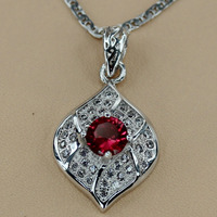 Wholesale Cute Micro Inlays Jewelry Red Cubic Zirconia Sporty 925 Silver Plated Beautiful Pendant R3128