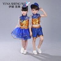 Jazz Dance Costumes Children's Dance Set Girls Fluffy Skirt Jazz Modern Dance Sequin Performance Boys Jazz Clothes 2pcs