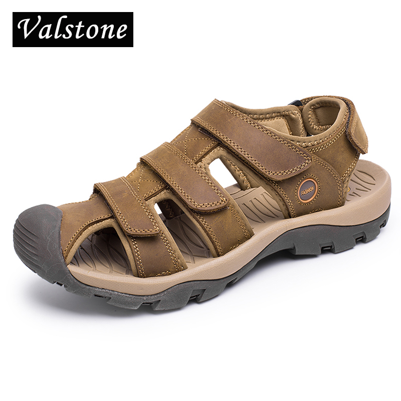 Valstone 2018 Summer Mens sandals Genuine leather luxury brand mens Beach shoes male slippers summer sneakers for men sandalen