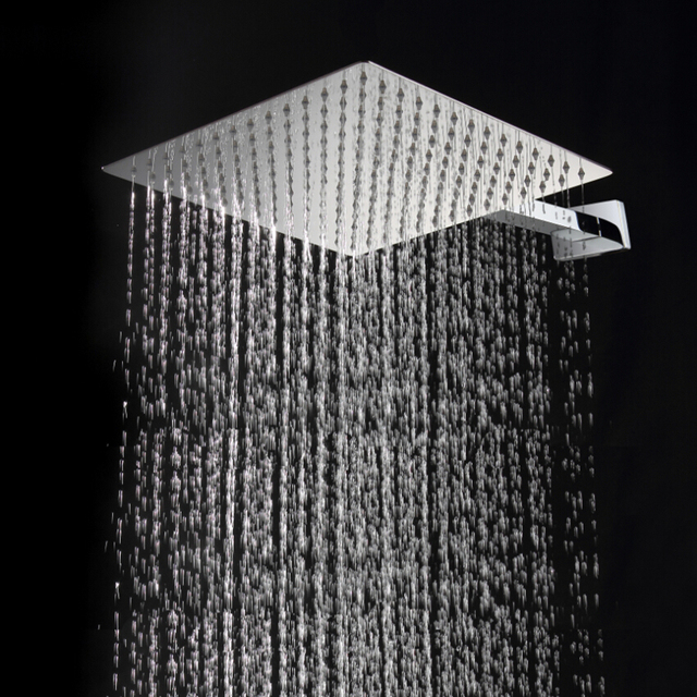 30cm 30cm Square Stainless Steel Ultra Thin Rainfall Shower Head 12