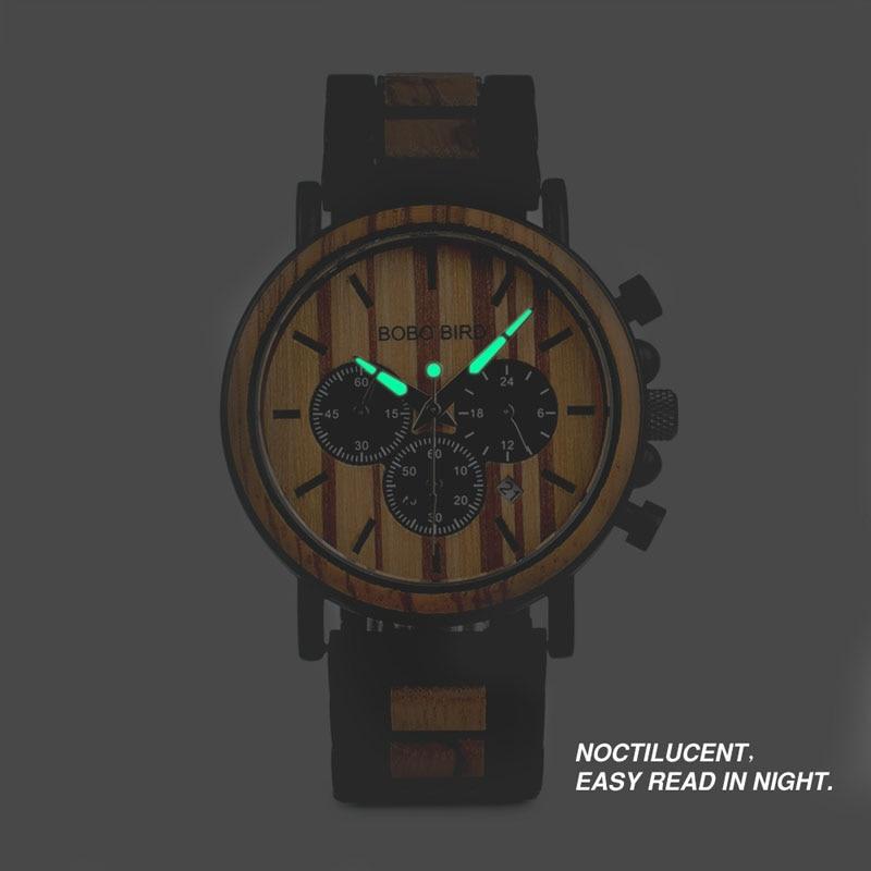 BOBO BIRD Wooden Watch Men erkek kol saati Luxury Stylish Wood Timepieces Chronograph Military Quartz Watches in Wood Gift Box 4