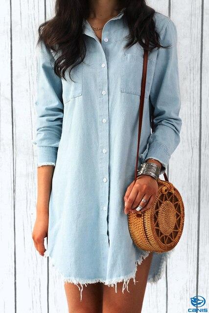 Пикантные женские с длинным рукавом джинсовые рубашки одежда мода осень зима уличная Женская Длинные Блузки для малышек