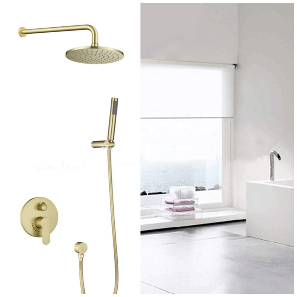 Brushed Gold 10-inch Rainfall Showerhead 2-way Mixer Kit with Handheld Round Shower System Bathroom setsBrushed Gold 10-inch Rainfall Showerhead 2-way Mixer Kit with Handheld Round Shower System Bathroom sets
