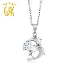 0.70 Ct Round White Created Moissanite White Diamond 925 Sterling Silver Pendant