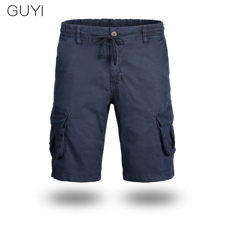 GUYI 4 Colors Solid Drawstring Cargo Shorts Men Knee Length Pocket Button Fly Male Tactical Short Casual Safari Style Short