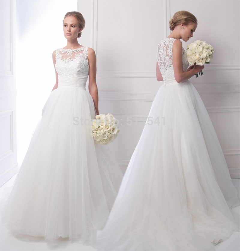 Best Seller Charming Pearls Sheer Wedding Dresses A Line Sweetheart  Applique Lace Sweep Train Bridal Gown yk1A296 6f1924b6c6