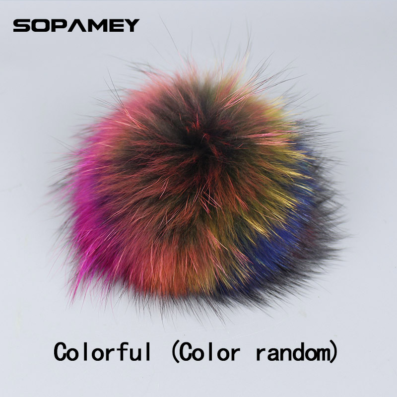 15CM Big Real Raccoon Fur Pompons for Hat Cap Natural Fox Fur Pompom   beanies     Skullies   Scarves keychain Accessories Bone Gorro