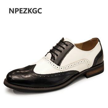 NPEZKGC Brand Brogue Black White Men Business Dress Shoes Pointed Toe Men Wedding Shoes Leather Formal Shoes casual flats