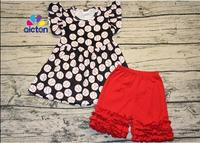 2017 newest children baseball outfit flutter sleeve sets boutique girl clothing sets polka dot top and red cotton ruffle pants