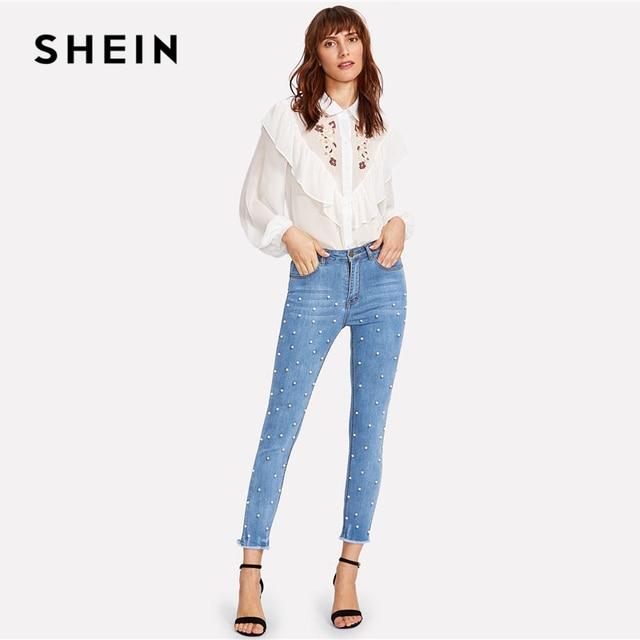 SHEIN Pearl Beaded Frayed Jeans 2018 Summer Blue Mid Waist Pocket Zipper Fly Jeans Women Hem Denim Casual Pants 4