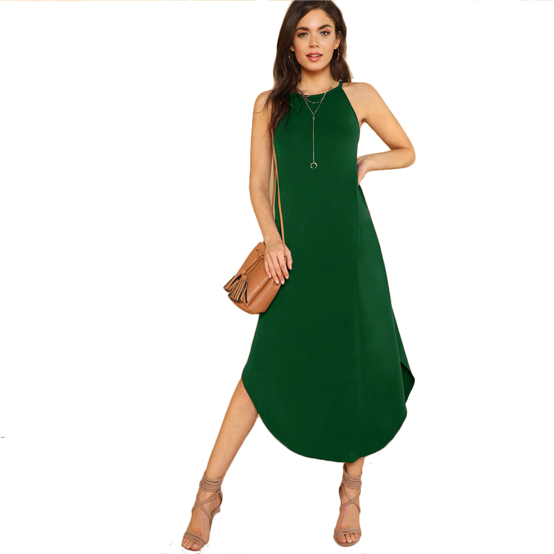 COLROVIE Keyhole Back Halter Curved Hem Party Dress 2018 New Green Loose Sleeveless Summer Dress Halter Shift Long Women Dress 10
