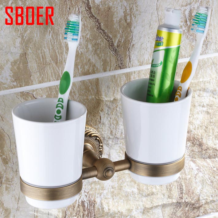 New Modern accessories luxury European style antique copper toothbrush tumbler& double cup holder wall mount bath product new modern accessories luxury european style oil rubbed bronze metal toothbrush dual tumbler