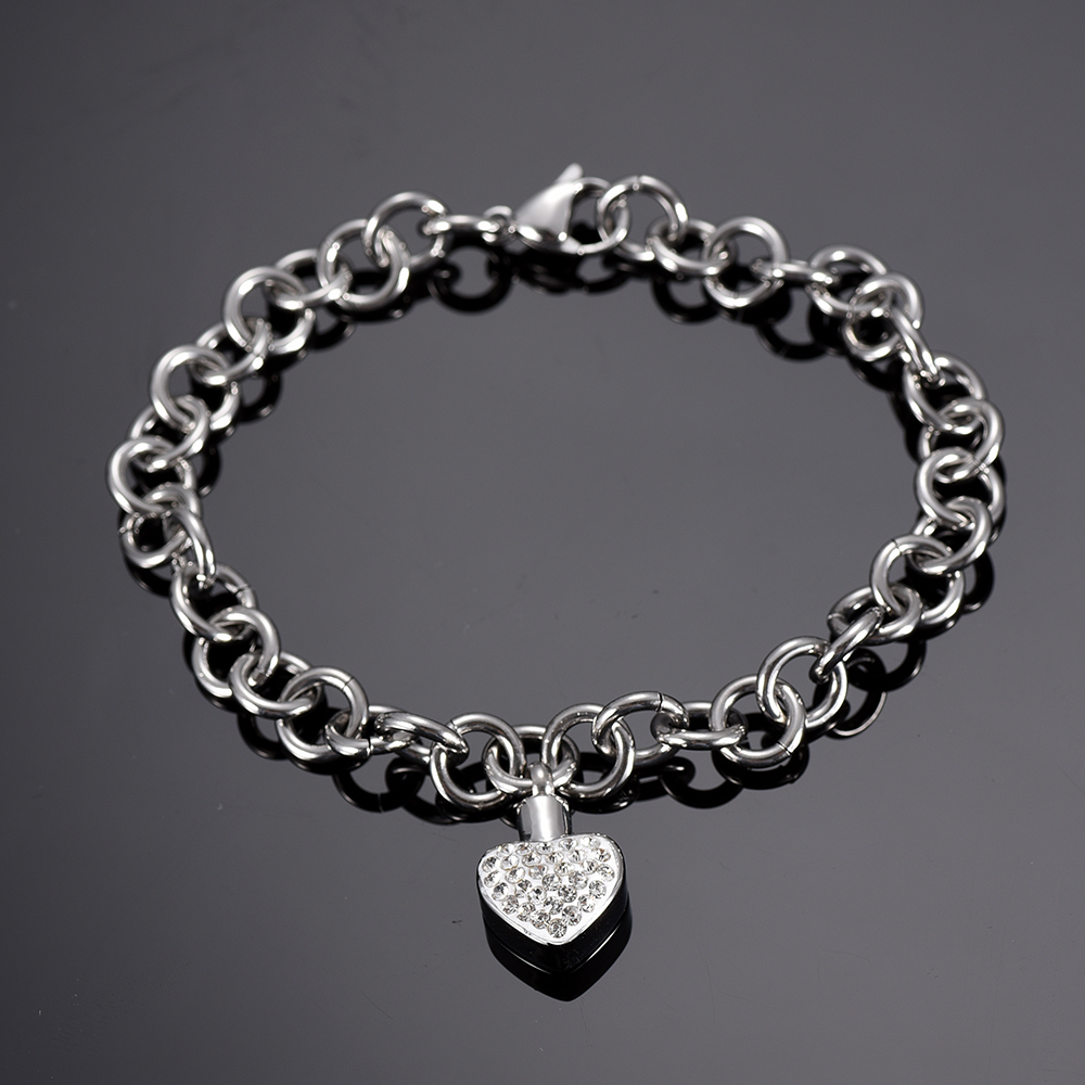 Us 8 0 20 Off Ijb5105 Cremation Jewelry Bracelet For Ashes Stainless Steel Lobster Clasp Link Chain Bracelets With Crystal Heart Urn Pendant In