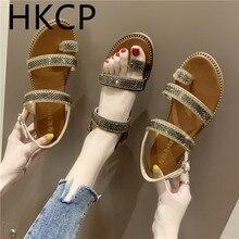 HKCP 2019 summer Korean version of the new wedge sandals high-heeled fashion set flat-bottomed rhinestone C218