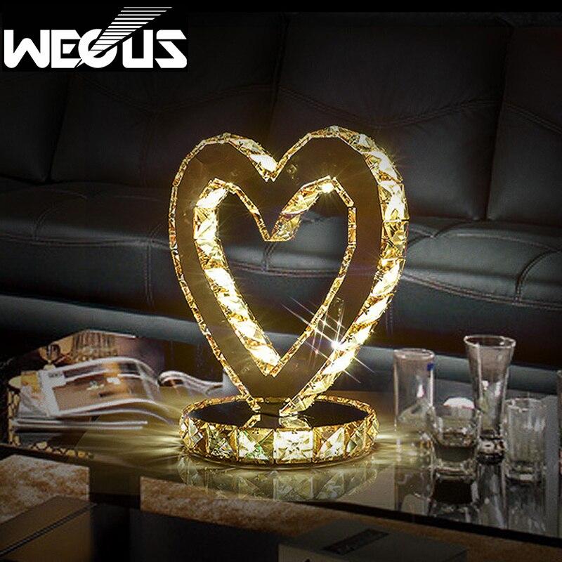 Современная спальня прикроватный настольная лампа свадебные декоративные светодиодные настольные света в форме сердца кристалл освещени...