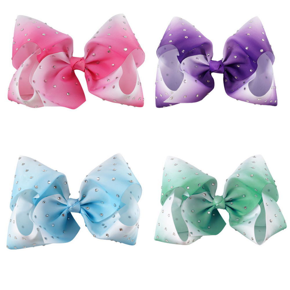 Ha hair bow ribbon wholesale - 4pcs Lot 7 Large Ombre Full Rhinestone Hair Bow With Clip Girl Dance Hairpin