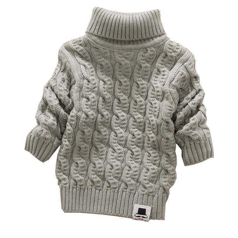 56af4c2c3 Niños Niñas Cuello Alto con Barba Etiqueta Sólido Bebé Niños Sweaters  Sueter Caliente Suave Infantil Otoño