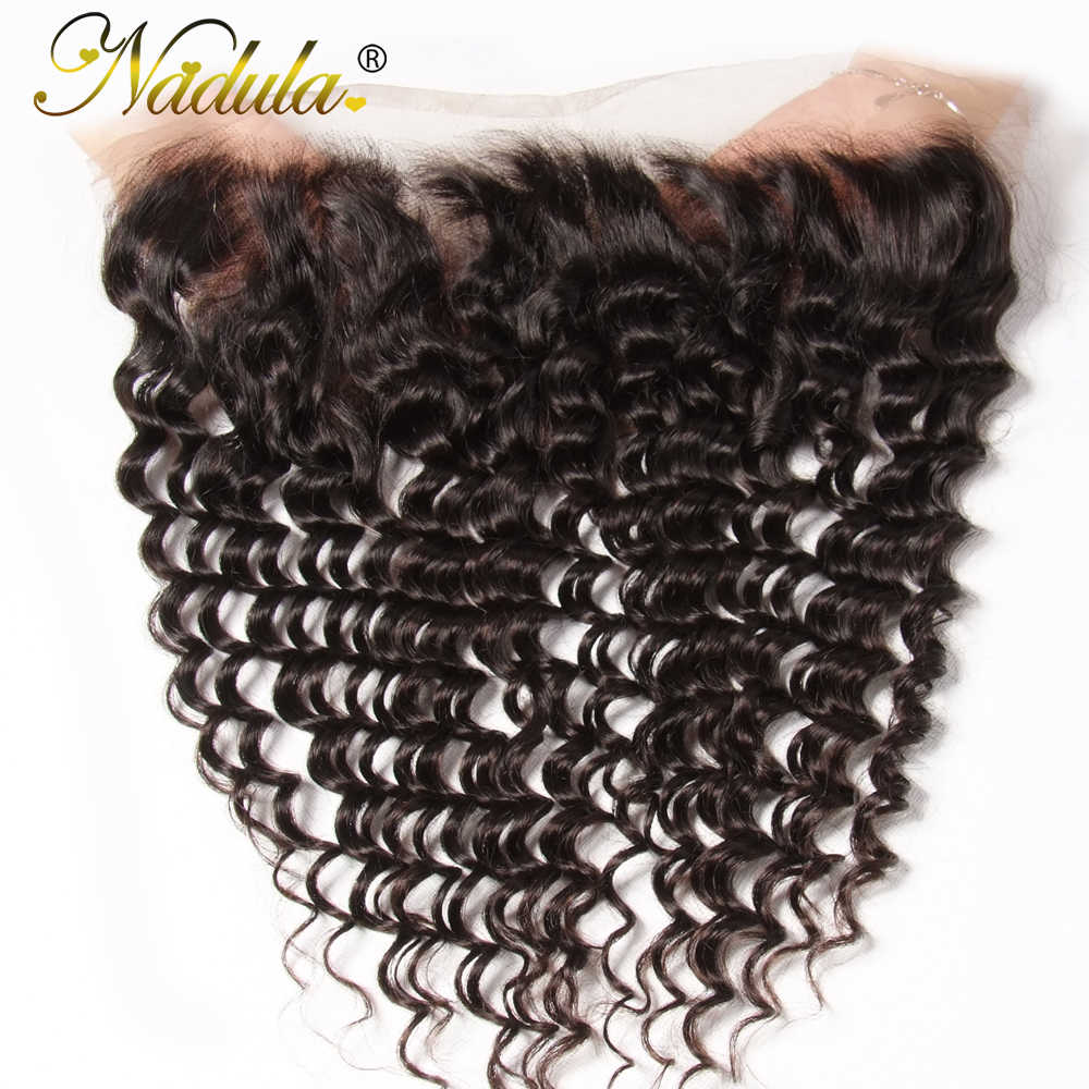 Nadula Hair 10-20inch Brazilian Deep Wave Frontal 13*4 Free Part Swice Lace Closure Remy Human Hair Weaves Natural Color