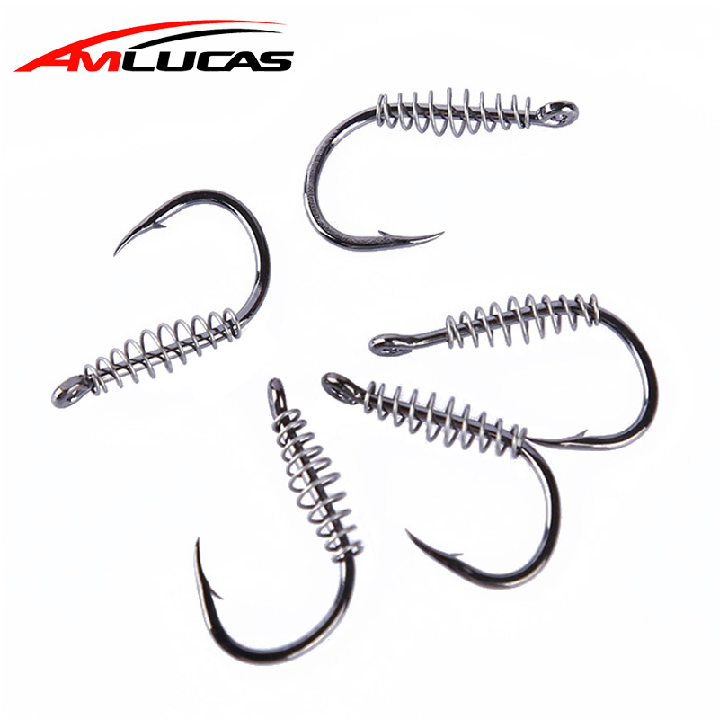 10pcs/lot Spring Hook High Carbon Steel Barbed Swivel Carp Jig Fly Fishing Hooks with Hole for Fishing Tackle Fishhooks WW1189