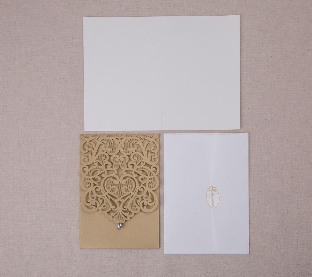 WISHMADE bijelo zlato laserski rez vjenčanja pozivnice Elegantan - Za blagdane i zabave - Foto 6