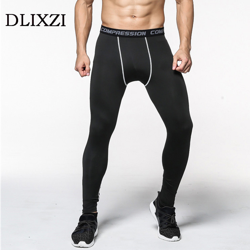 DLIXZI brand men sporting compression leggings gyms fashion fitness workout sweat pants male Jogger black tight casual trousers