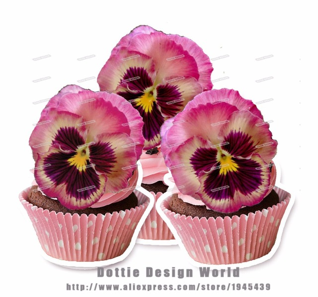 24 Pink viola Pansies Flower Edible cake topper wafer rice paper ...