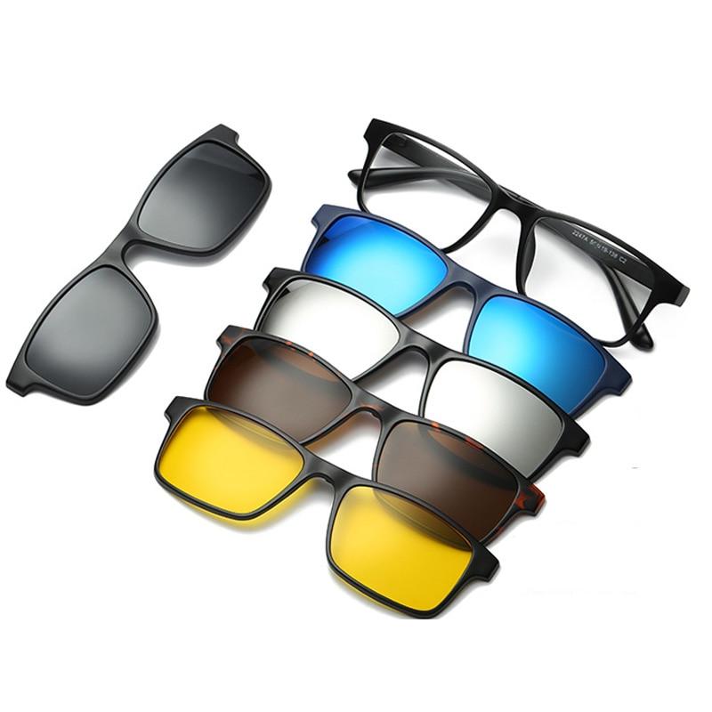 6 in 1 sunglasses clip on sunglasses frame myopia eyeglasses glasses tr90 frame for women men magnetic lens sunglasses 5 in 1