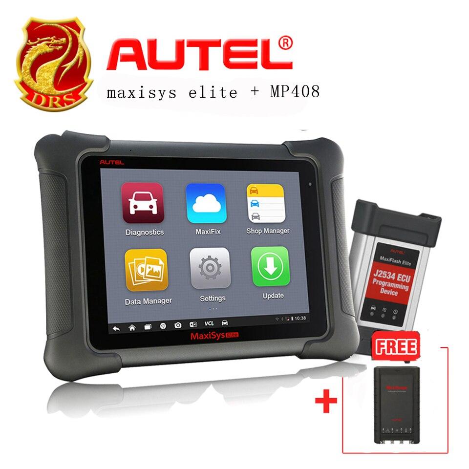 Original AUTEL MaxiSys Elite ECU Car Auto Car Diagnostic Tools +MaxiScope MP408 Basic Kit 4 Channel Automotive Oscilloscope Work