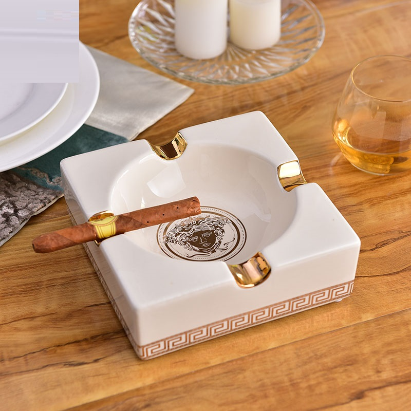 Ashtray black Cigar ashtray Ashtray weed metal light luxury living room home inlaid solid wood pure copper cigar fashion ashtray smokers gifts,smoking accessories