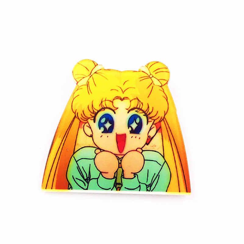 1 Pcs Sailor Moon Tentara Merah Muda Lucu Kartun Anime Gadis Ikon Lencana Diy Di Ransel Bros Pakaian Akrilik Plastik lencana