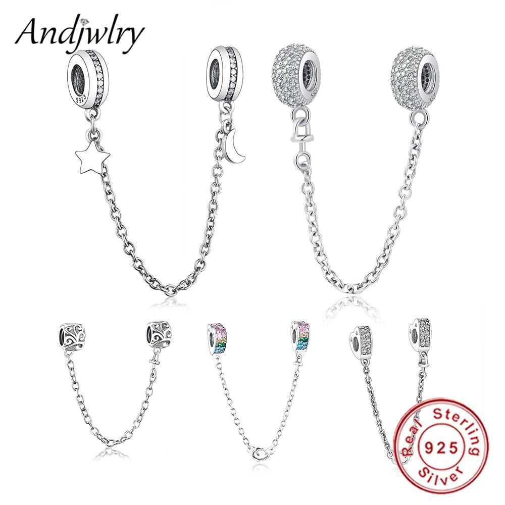 6159d5072 Fit Original Pandora Charms Bracelet 925 Sterling Silver White Zircon Safety  Chain Heart Charm Bead DIY Jewelry Making Berloque