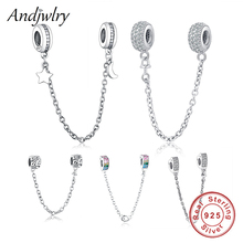 Fit Original Pandora Charms Bracelet 925 Sterling Silver White Zircon Safety Chain Heart Charm Bead DIY Jewelry Making Berloque geoki 925 sterling silver rose gold white cubic zirconia clover silicone safety chain fit original pandora bracelet leaf charm
