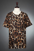 XS 4XL 2018 summer men casual short sleeve o neck leopard print t shirt cotton 100% T Shirts TOP singer stage costumes clothing