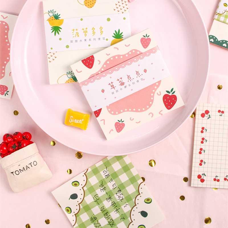 Милая розовая вишня клубника блокнот для заметок Kawaii корейские канцелярские Липкие заметки бумажные закладки для школьных учебников офисные принадлежности