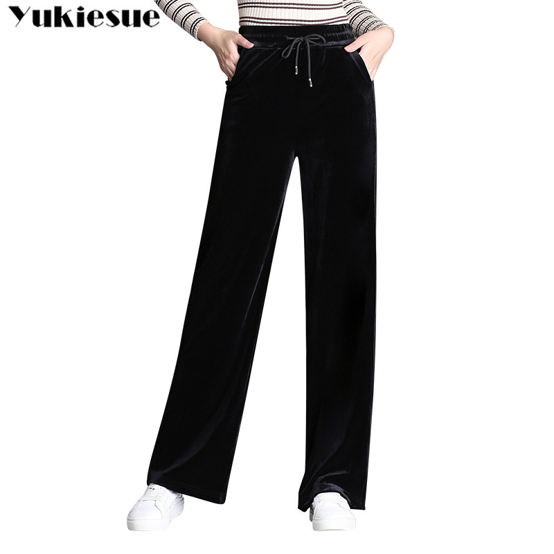streetwear velvet women's   pants     capris   with high waist wide leg   pants   for women trousers woman   pants   female Plus size 5xl 6xl